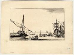 Suite de huit Marines: Une galère arrive dans le port, plusieurs barques …