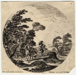 Paysages et ruines de Rome: Le coup de vent dans la forêt deux cavaliers …