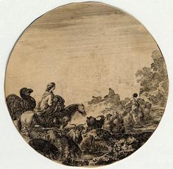 Paysages et ruines de Rome: Le troupeau en marche vers le fond, une femme…