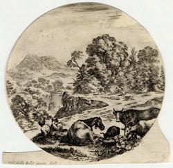Paysages et ruines de Rome: Sur le devant, un cheval couche, deux chèvres…