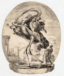 Les cinq Morts: La mort emportant sur son épaule droite une femme, la têt…