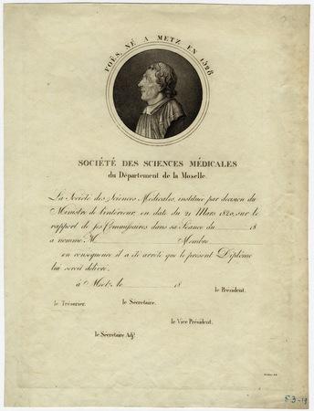 Foës né à Metz en 1528 - diplôme de la Société des sciences médicales du d…
