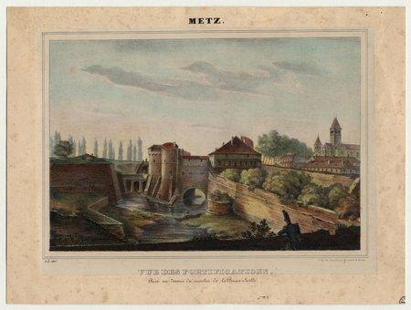 Metz : vue des fortifications prise au-dessus du moulin de la Basse-Seille