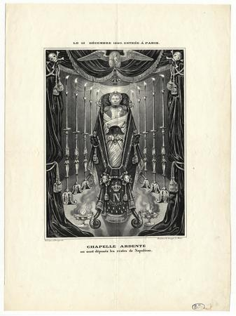 Le 15 décembre 1840 entrée à Paris : Chapelle ardente où sont déposés les …