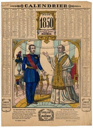 Calendrier pour 1850- Capitulation de Rome 1849