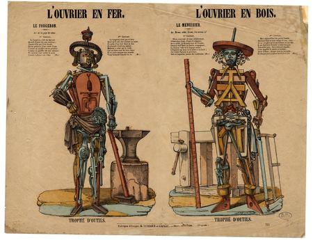 L'Ouvrier en fer : le forgeron / l'ouvrier en bois : le menuisier