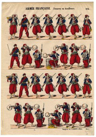 Armée française : zouaves en tirailleurs