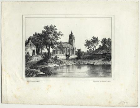Paysage lorrain avec église et couple de promeneurs