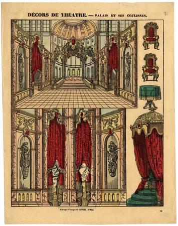 Décors de théâtre : palais et ses coulisses