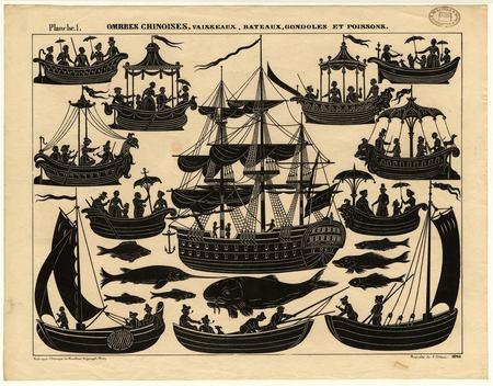 Ombres chinoises : vaisseaux, bateaux, gondoles et poissons