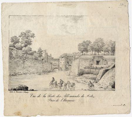 Vue de la Porte des allemands de Metz : prise de l'abreuvoir