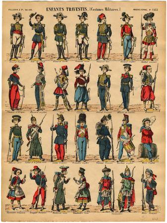 Enfants travestis : costumes militaires