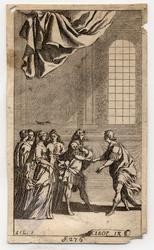 Abrégé de la Cléopâtre: Dans un salon, un homme suivi de quatre femmes, a…