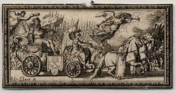 Panegyrique du Roy: Le Roi sur un char triomphal mené par Minerve