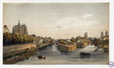 Metz : vue générale prise du pont Saint-Georges