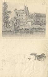 [St-Vincent, vu d'un point de la rive droite ; au verso : esquisse Soldoye…