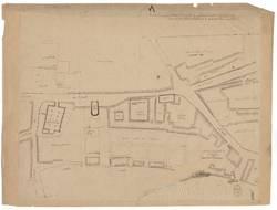 Plan de l'Eglise St Marcel, du refuge, du Couvent des Ursulines, du pont S…