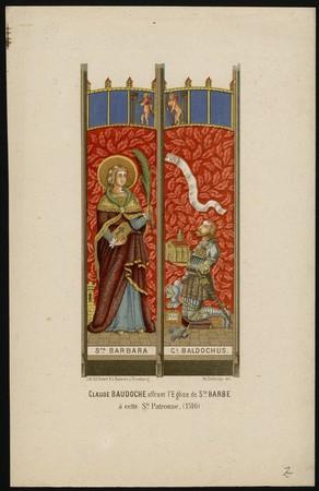 Claude Baudoche offrant l'église de Sainte Barbe à cette Sainte Patronne