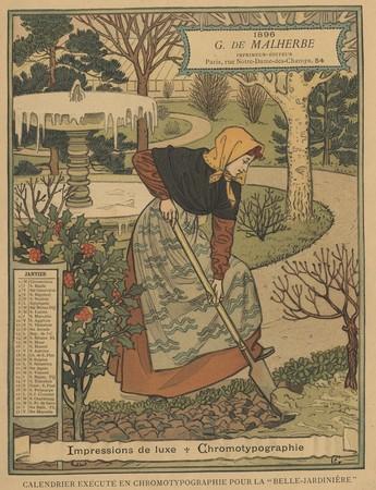 Calendrier de 1896 de La Belle Jardinière. Les Mois: Janvier