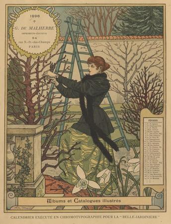 Calendrier de 1896 de La Belle Jardinière. Les Mois: Février