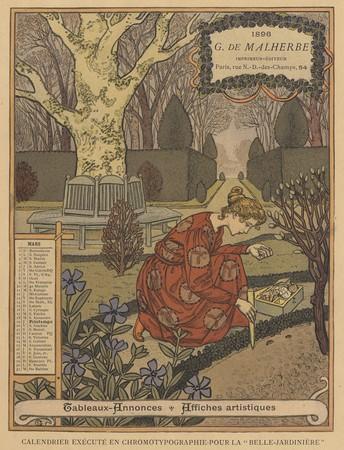 Calendrier de 1896 de La Belle Jardinière. Les Mois: Mars