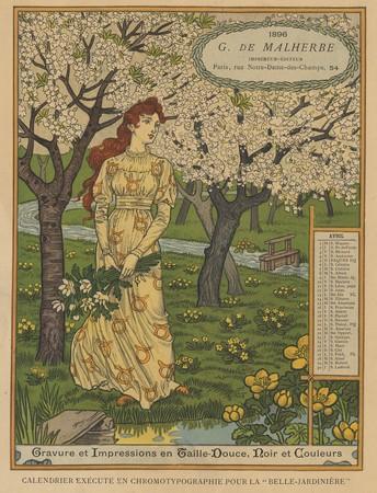 Calendrier de 1896 de La Belle Jardinière. Les Mois: Avril