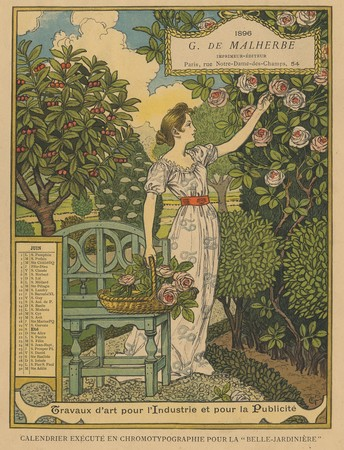 Calendrier de 1896 de La Belle Jardinière. Les Mois: Juin