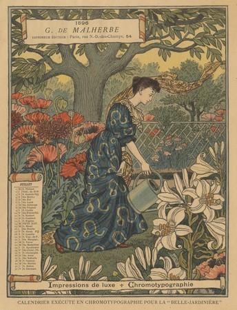 Calendrier de 1896 de La Belle Jardinière. Les Mois: Juillet