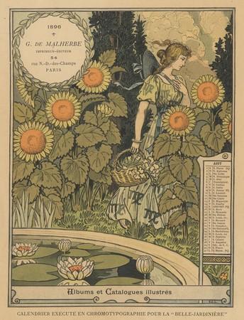 Calendrier de 1896 de La Belle Jardinière. Les Mois: Août