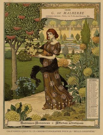 Calendrier de 1896 de La Belle Jardinière. Les Mois: Septembre