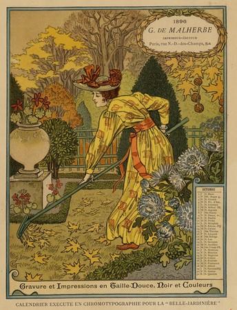 Calendrier de 1896 de La Belle Jardinière. Les Mois: Octobre