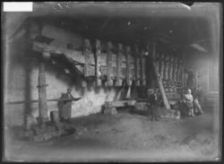 Groupe de personnes posant dans un pressoir