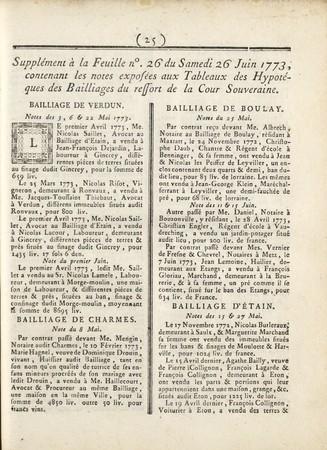 Supplément aux Affiches de Lorraine et des Trois-Evêchés