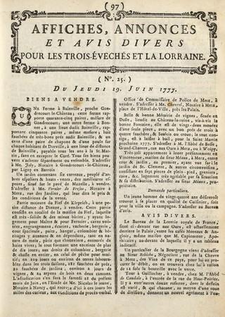 Affiches, Annonces, et Avis divers pour les Trois-Evêchés et la Lorraine