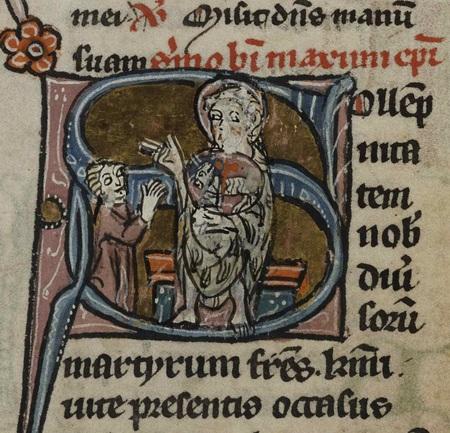 Homme agenouillé en prière devant Dieu le Père portant l'agneau mystique