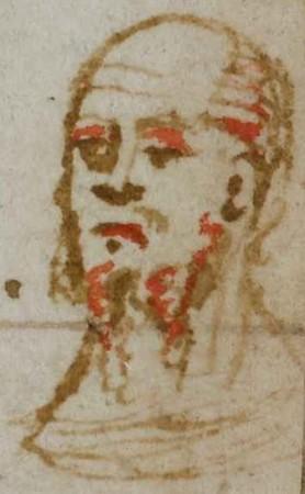 Tête d'homme barbu vue de trois-quart face