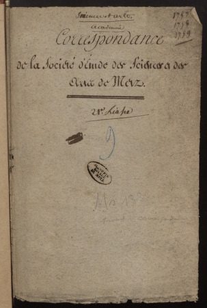 Archives de l'Académie nationale de Metz. Volume 2 : 1757-1759
