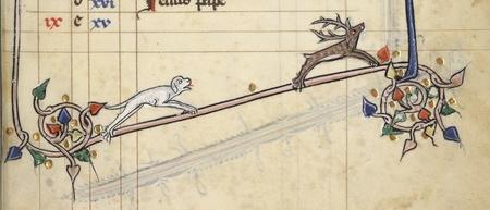 Un chien chasse un cerf