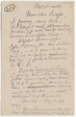 Lettre autographe à Anatole Baju