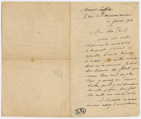 Lettre autographe signée d'Ernest Delahaye à Paul Laffitte
