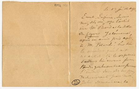Lettre autographe signée à Eugénie Krantz, et mot rédigé au verso d'une ca…