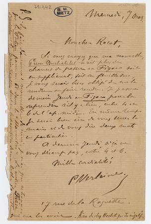 Lettre autographe signée à Adolphe Racot, avec enveloppe