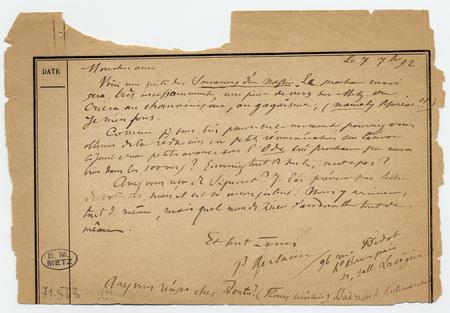 Lettre autographe signée avec enveloppe à Jules Rais