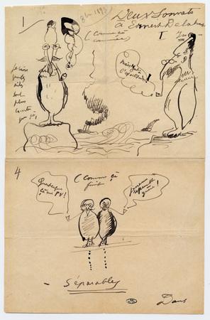"""Dessin de Paul Verlaine intitulé """"Deux sonnets à Ernest Delahaye"""""""