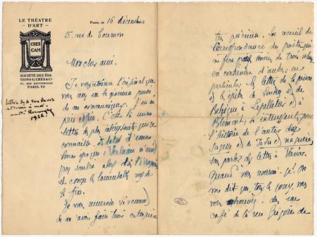 Lettre autographe signée de A.van Bever