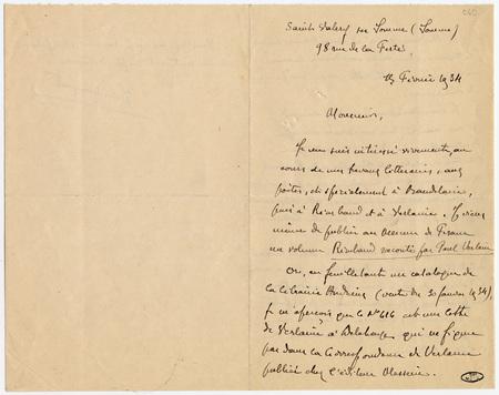Lettre autographe signée de Jules Mouquet à un collectionneur d'autographes