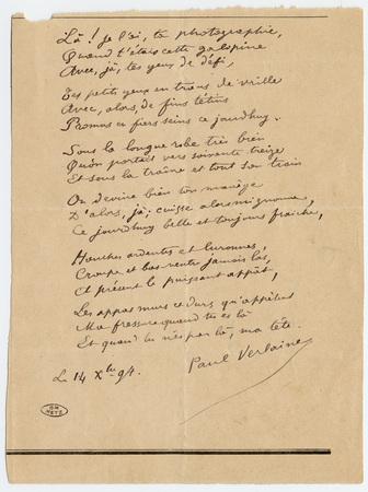 """Lettre à Léon Deschamps, avec au verso """"Assonance galante"""", poème autograp…"""