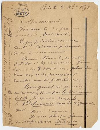 Lettre autographe avec enveloppe