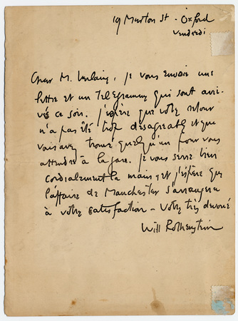 Lettre autographe signée de William Rothenstein à Paul Verlaine, avec au v…
