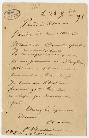 Lettre autographe à Léon Vanier